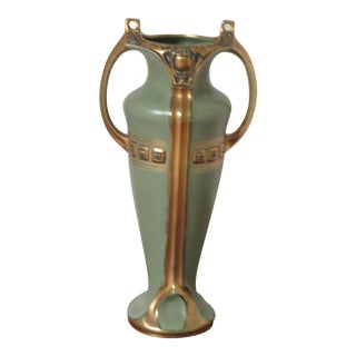 Antique Art Nouveau Green & Golden Stoneware Vase For Sale