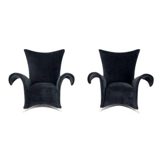 Mid-Century Modern High Back Wingback Chairs Pair For Sale