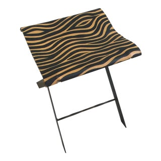 Vintage Animal Print Wrought Iron Stool For Sale