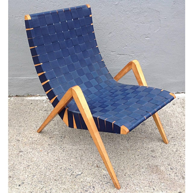 Navy Blue 1940s Mid-Century Modern Jens Risom Style Navy Blue Webbed Scoop Birch Lounge Chair For Sale - Image 8 of 8
