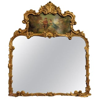 Louis XVI Style Carved Over-The-Mantle Mirror With a Trumeau Painted Scene For Sale