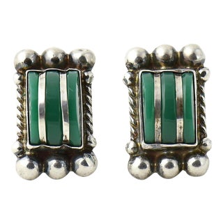 Modernist Mexican Green Onyx & Sterling Earrings For Sale