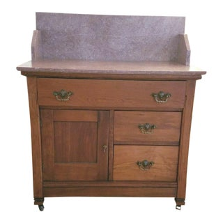 Eastlake Victorian Rose Marble Top Washstand Chiffonier