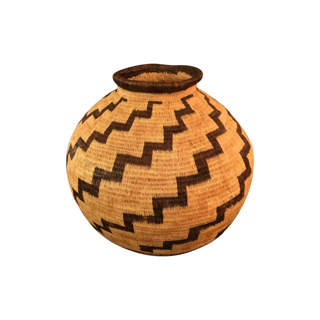 Organic Colombian Werregue Round Woven Basket - Image 1 of 7