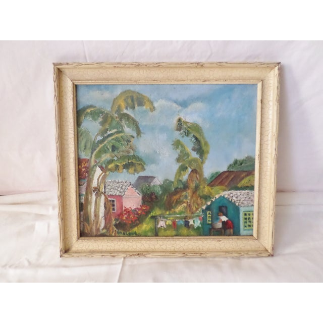 Mid-Century Modern Oil Painting of Island scene signed by the artist Englander and in the original frame that measures...