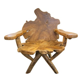 Oly Studio Tara Teak Live Edge Wood Chair For Sale