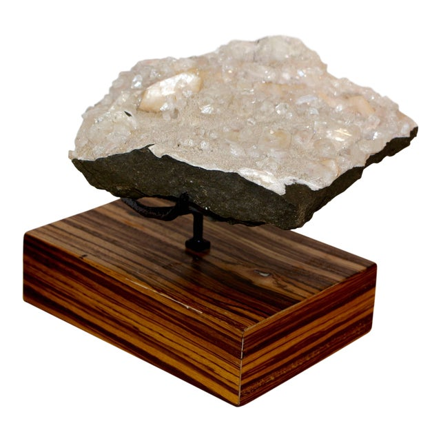 Beautiful Piece of Quartz Crystal Mounted on a Custom Solid Zebra Wood Base For Sale