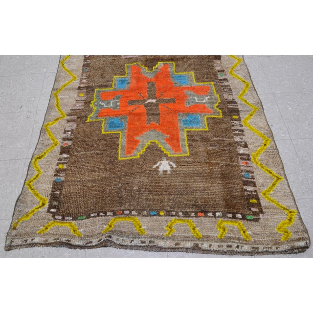 "1940s Vintage Kurdish Tribal Rug,3'8""x10'5"" For Sale - Image 5 of 6"