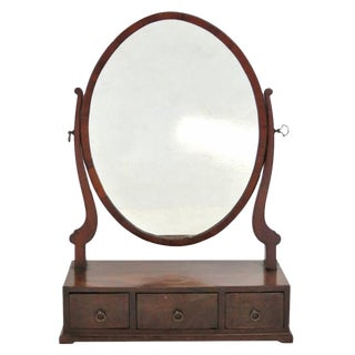 Antique Sheraton Mahogany Dressing Mirror For Sale