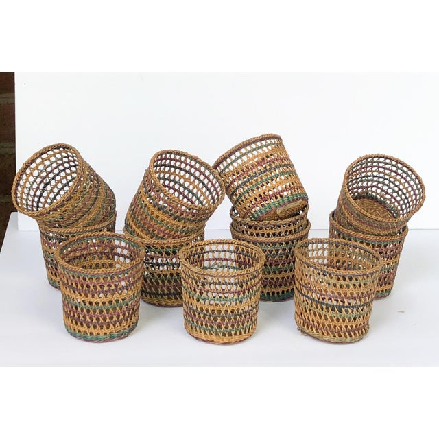 Wicker Vintage Wicker Glass Cozies Coasters, Set of 12 For Sale - Image 7 of 7