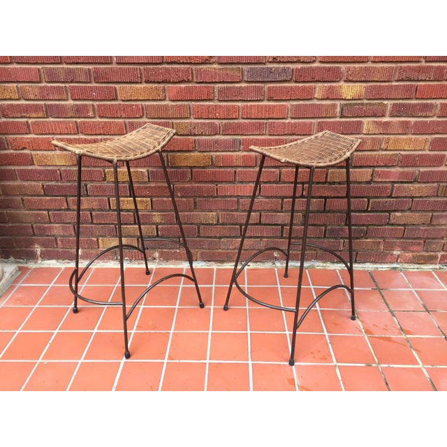 1970s Mid-Century Modern Arthur Umanoff Style Iron and Rattan Barstools - a Pair For Sale - Image 9 of 9