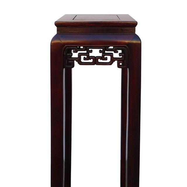 Oriental Plant Pedestal in Red Brown Stain - Image 4 of 5