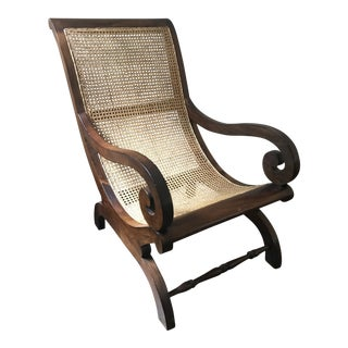 Antique Hand-Carved British Colonial Cane Chair For Sale