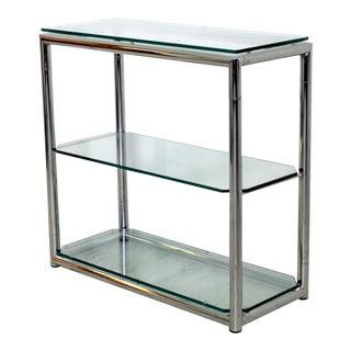 1970s Mid Century Modern Chrome & Glass 3 Shelf Shelving Unit For Sale