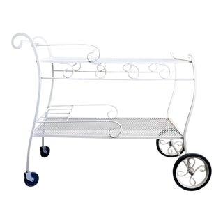White Wrought Iron Patio Cart