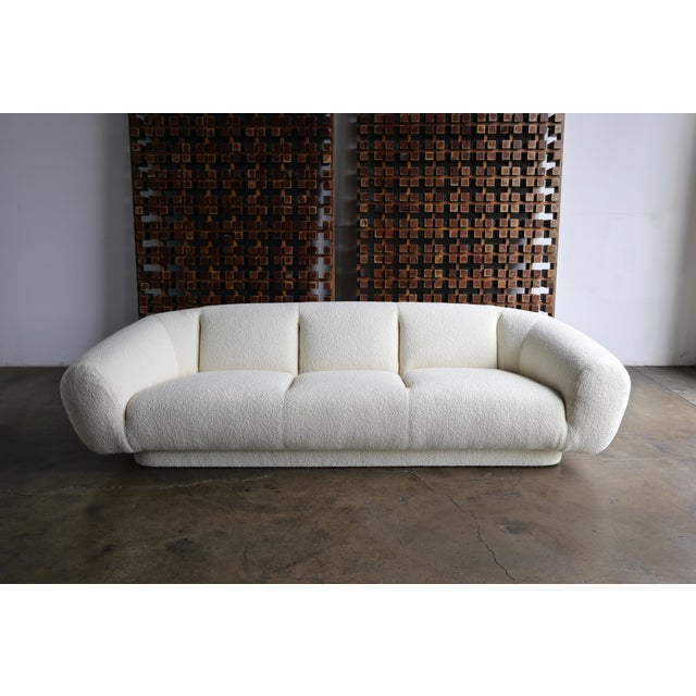 Preview Furniture Company sofa, circa 1975. This piece has been professionally restored in Holly Hunt bouclé. (Often...
