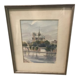 1970s Framed Notre Dame Watercolor Drawing For Sale