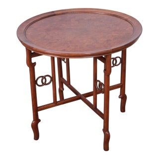 Michael Taylor for Baker Far East Collection Walnut and Burl Wood Occasional Table For Sale