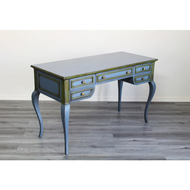 Mid Century Blue Painted Desk For Sale In Miami - Image 6 of 10