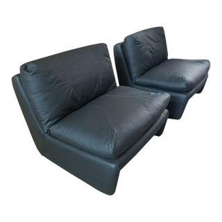 1970s Vintage Scandanavian Leather Lounge Chairs - A Pair For Sale
