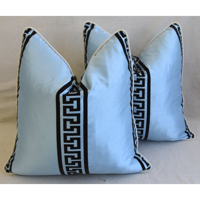 """Cotton Blue Dupioni Satin Silk Greek Key Feather/Down Pillows 23"""" Square - Pair For Sale - Image 7 of 13"""
