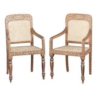 Bone Inlay Colonial Arm Chairs, Pair For Sale