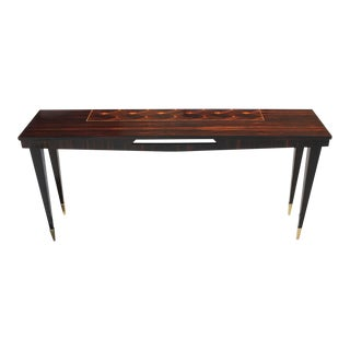 French Art Deco Exotic Macassar Ebony Console Table, Circa 1940s For Sale