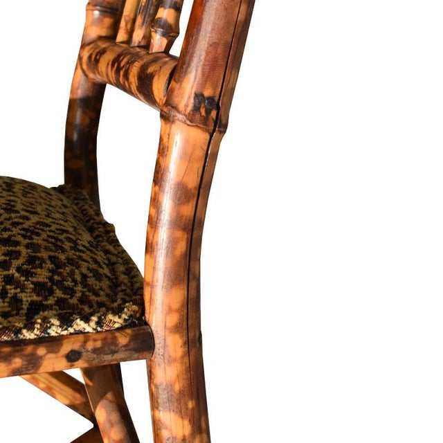Wood Chinoiserie Small English Children's Burnt Tortoise Bamboo Upholstered Leopard Print Chair For Sale - Image 7 of 10
