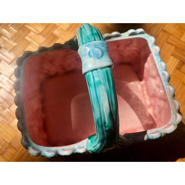 Vintage Faience Ceramic Ivy Basket For Sale - Image 10 of 11