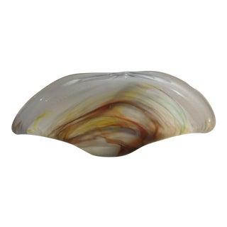 20th Century Art Deco Murano Handmade White Cristal Multicolor Decorative Dish For Sale