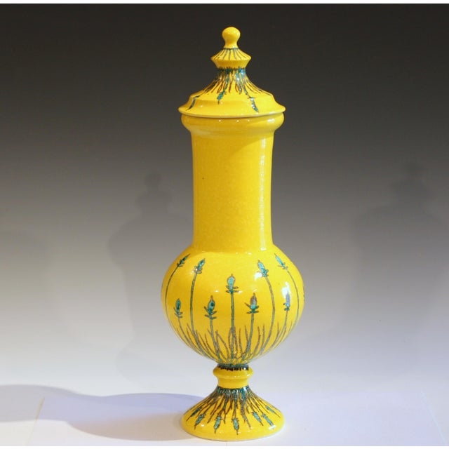 Large vintage Mancer/Mancioli covered urn jar in elegant form with striking green/silver decoration over atomic yellow...
