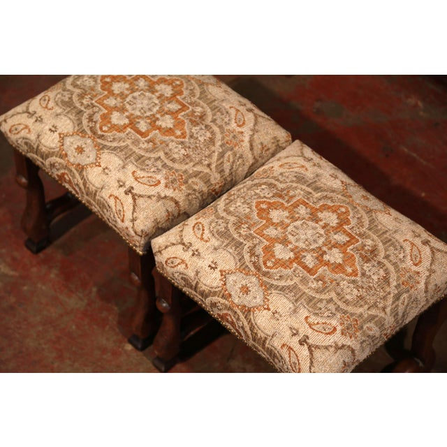 French 19th Century French Louis XIII Carved Walnut Os De Mouton Stools - a Pair For Sale - Image 3 of 9