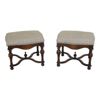 Modern Sherrill Mahogany William & Mary Ottoman Stools- A Pair For Sale