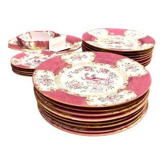 "Minton ""Cockatrice"" Dinner Plates in Pink - 16 Pieces For Sale"