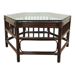 Vintage Bent Bamboo & Rattan Coffee Table