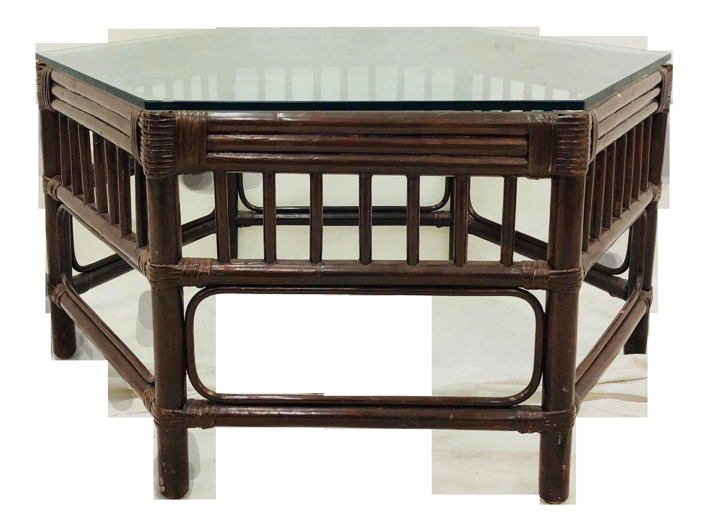 Vintage Bent Bamboo U0026 Rattan Coffee Table