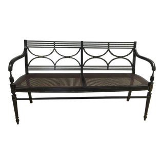 Antique Black and Gold Caned Bench For Sale
