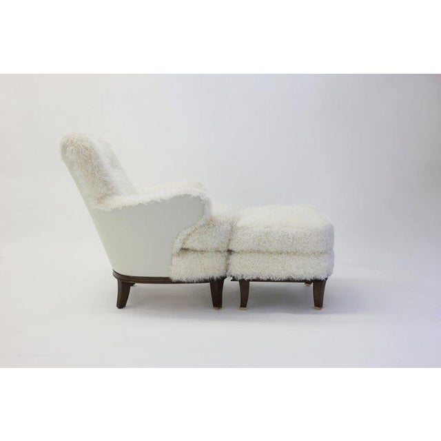 Not Yet Made - Made To Order Upholstered Ottoman Shown With Willow Club Chair Covered in Shearling For Sale - Image 5 of 6