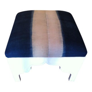 Custom Upholstered Fez Ottoman in Antique Asian Fabric For Sale