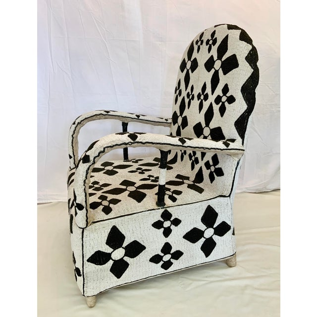 African African Beaded Nobility Chairs Handcrafted by Yoruba Artisans - a Pair For Sale - Image 3 of 13