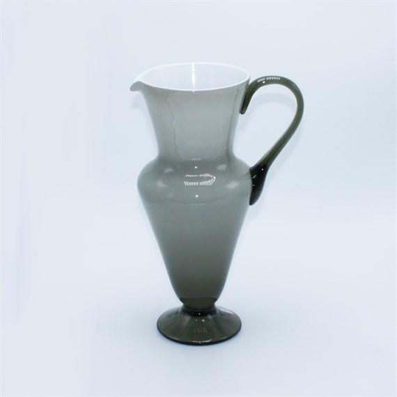 Mid-Century Modern Gray Balboa White Cased Murano Glass Pitcher, C. 1960 For Sale - Image 3 of 3