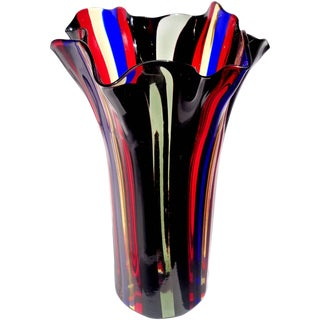 Murano Red Blue Yellow Black and Gray Bands Italian Art Glass Fazzoletto Vase For Sale