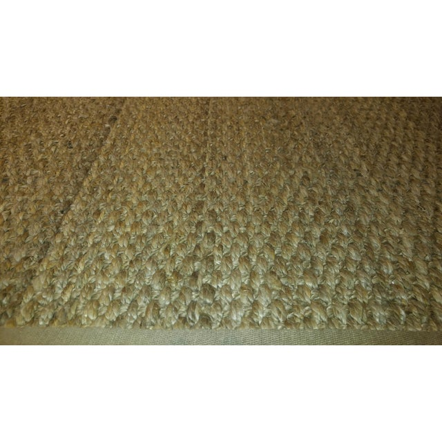 Jute Are Rug With Linen Binding - 13′ × 15′7″ For Sale - Image 4 of 7