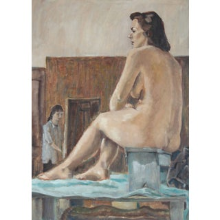 Rip Matteson Nude Female Figure Model in Art Studio, Oil on Canvas Painting, 1957 1957 For Sale