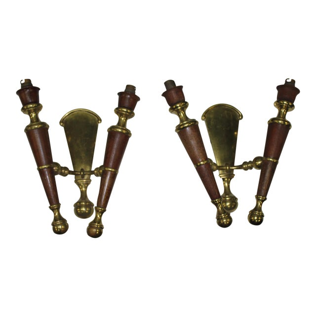 Big Pair Of French Art Deco Solid Bronze / Mahogany Sconces Wall Lights Circa 1940s. - Image 1 of 11