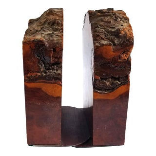 Vintage Rustic Raw Edge Primitive California Redwood Burl Bookends 1970s - Set of 2 For Sale