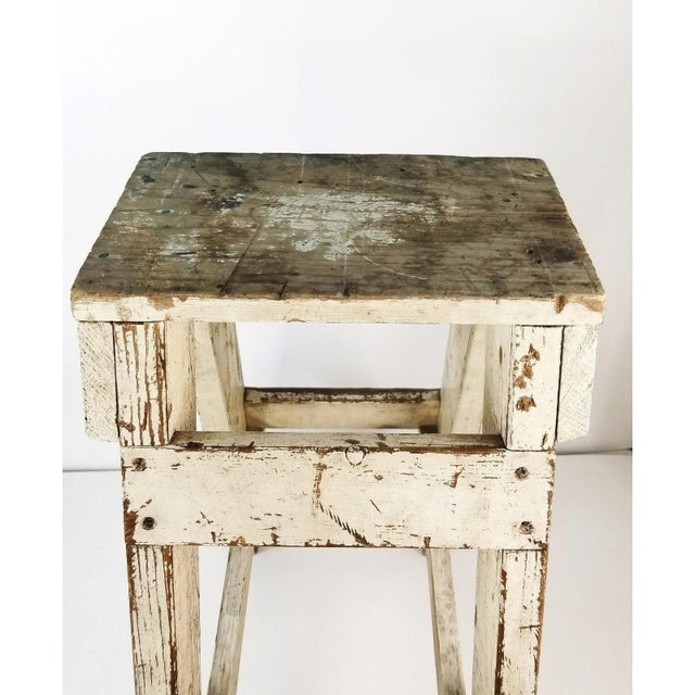 Antique Primitive Farmhouse Country Kitchen White Wood Stool Plant Stand Decor For Sale - Image 4 of 6