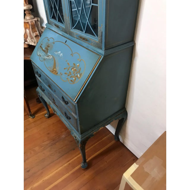 Mid Century Hand Painted Chinoiserie Blue Secretary Desk For Sale - Image 9 of 12