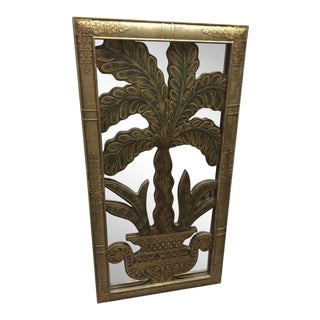Contemporary Wooden Wall Panel With Potted Plant Motif and Mirrored Back For Sale
