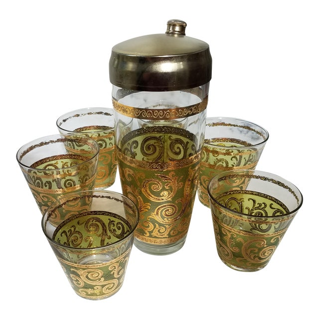 Gold & Green Mid-Century Cocktail Shaker & Glasses - Set of 7 For Sale